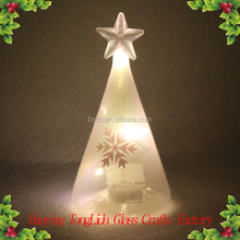 Colourful small glass christmas tree with led light ornament