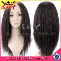 Wholesale kinky straight virgin indian human hair italian yaki full lace wig