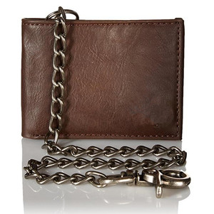 Boshiho genuine leather biker wallet chain thief protector biker wallets