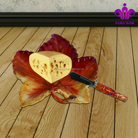 Harvest holiday ceramic maple leaf design plate with butter knife