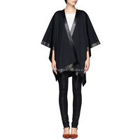 Woman Black Trim Mexican Knitted Leather Ponchos And Shawls HSC9034