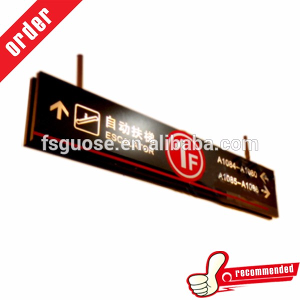 indoor acrylic signpost double side metal sign board with led light box