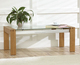 Glass Morden DINING Furniture, Teak gals stop dining Table