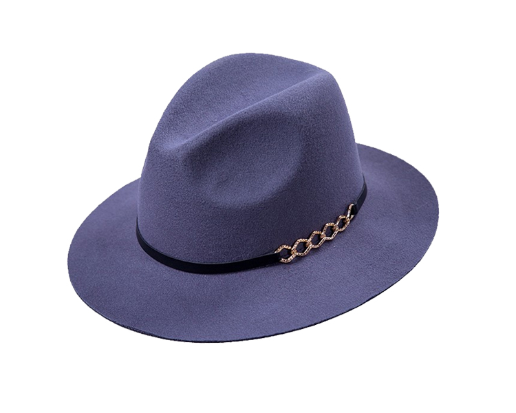 Wholesale High Quality Handmade 100% Wool Felt Light Blue Fedora Hat Made In Shunpu Factory