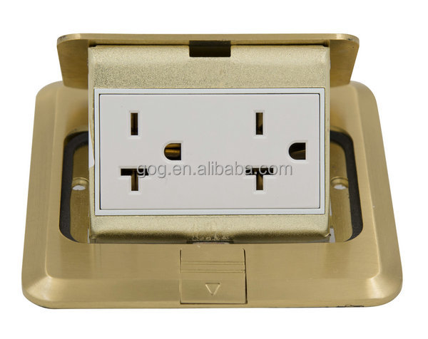 Special offer floor socket, 2/3pins Square full brass floor socket 120 type with free junction box
