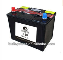 For heavy truck use N60 dry cell auto car battery 12v 60ah