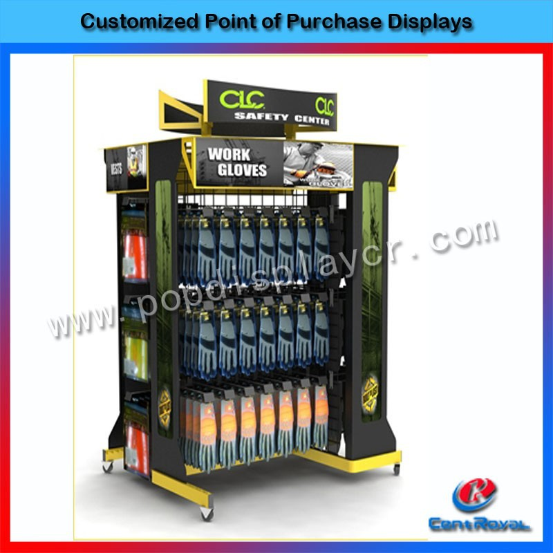 Modern design cardboard gloves display stand for wholesale