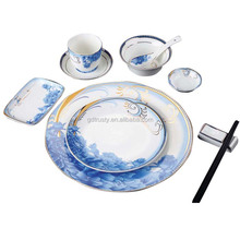Wholesale bone china porcelain bone china blue and white square dinnerware sets, hotel pure luxury square crockery