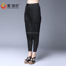 factory selling lady pleated pants high quality fashion pleated lady clothing