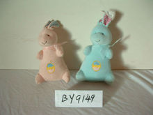 Easter Stuffed Custom Plush 2-colour Bunny Rabbit animal toy with embroidery logo on belly,promtional plush hare toy