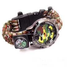 006 Multicam Outdoor camping Travel Watch kit With survival Flint Fire starter paracord Compass rescue Whistle rope