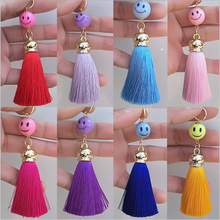 Yongze Mini Cute mobile phone keychains Lovely Acrylic Smiley Face Ice Silk Tassels Keychain For Cellphone