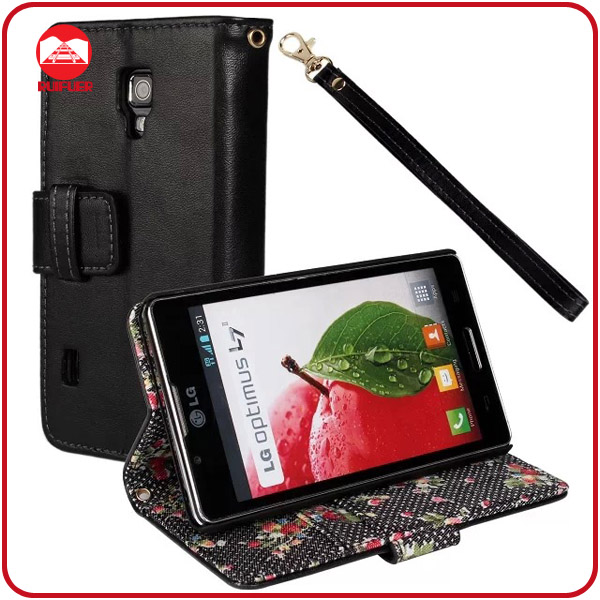 RF Manufacturer Floral Fabric With Card Slots Stand Flip Wallet Leather Cover for LG Optimus L7 ii P710