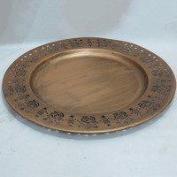 indian style round shape retro copper logo large metal tray