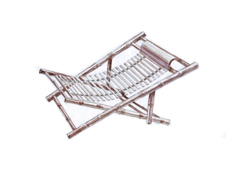 Bamboo Folding Recliner Chair, RC-001