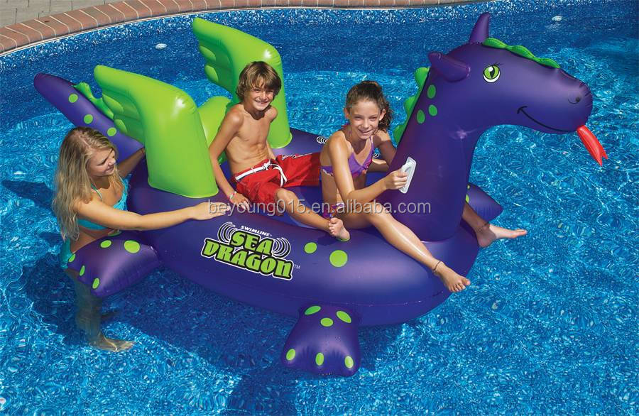 Heavy Duty NEW 9 Ft Long Giant Large Swimming Pool Kids Children Sea Dragon Swim Water Inflatable Ride On Pool Toy