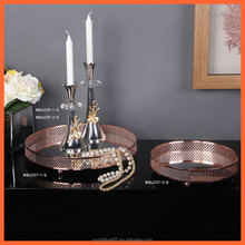 rose gold round hollow decorative stainless steel alloy fruit plate
