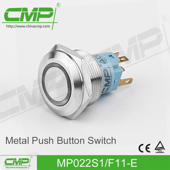 CMP 22mm stainless led pushbutton switch 5A/250V momentary or latching (TUV CE)
