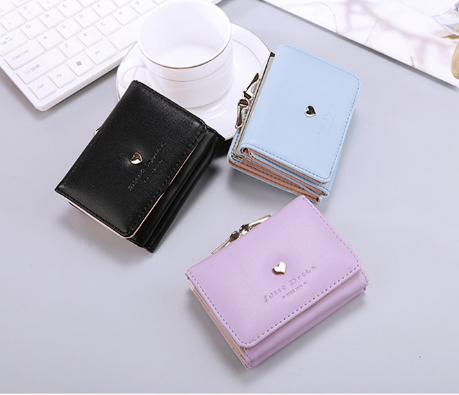 New 2017 Top Quality PU Leather Small Women Purse Delicate Heart Girl's Smart Wallet Mini Woman Clutch Bag Cute Card Wallet