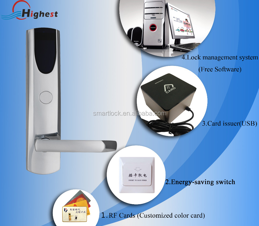 Hotel RFID smart card lock digital electronic hotel french door locking systems