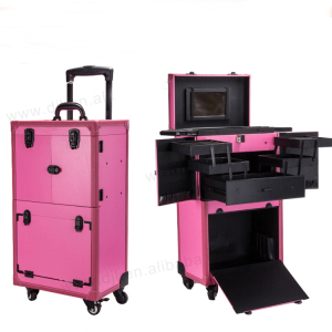 Professional cosmetic storage boxes hair stylist makeup trolley case with Stand Mirror