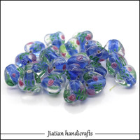14mm hearted lampwork blue glass beads wholesale for jewelry making