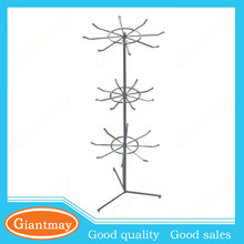 3 rows 8pcs hooks rotating keychain display display stand