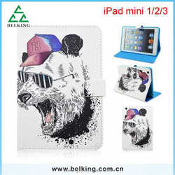 Cool dog tablet leather case for ipad mini 1/2/3, dog print leather case for ipad mini, for ipad mini animal tablet case