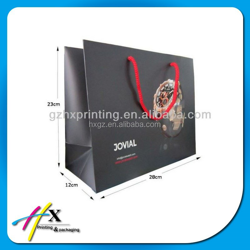 Black Customized Watch Paper Bags with Branded Embossed Logo