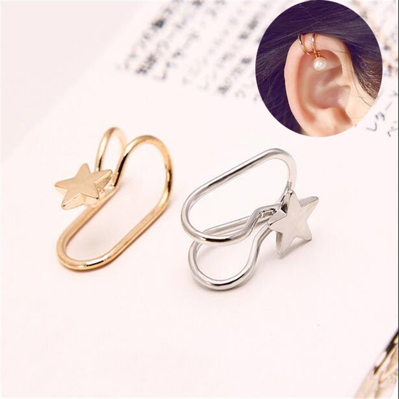 Single Crystal U Style No Hole Ear Cuff Clip Star Heart Cross Pearl Lightning <strong>Earring</strong> for WomenJewelry