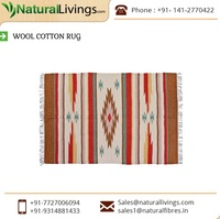 Flat Weave Wool Cotton Rug with Simple and Elegant Design