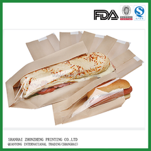 Hot sale brown white kraft bread paper bags with window