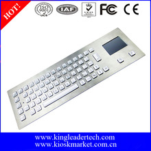Industrial metal backlit keyboard with touchpad for top mount