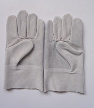Base color cowhide chip leather working gloves