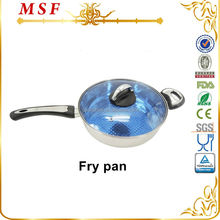 Beautiful copper bottom stainless steel fry pan with blue glass lid