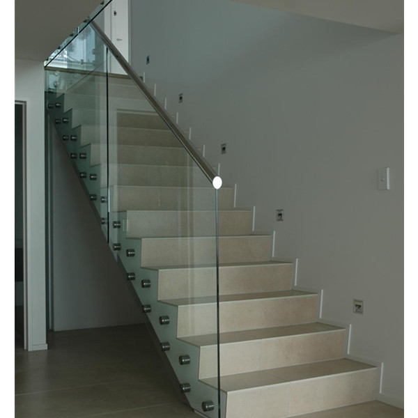 Stainless Steel Glass Standoff Fixing To Concrete Stair