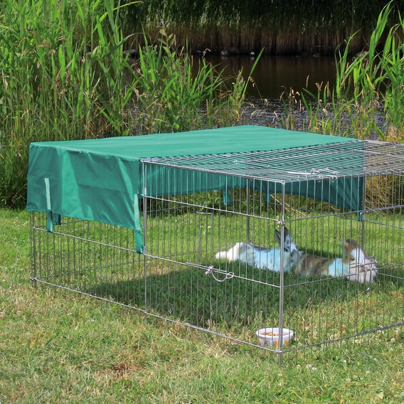 folding wire fence outdoor metal rabbit cage with sunshade