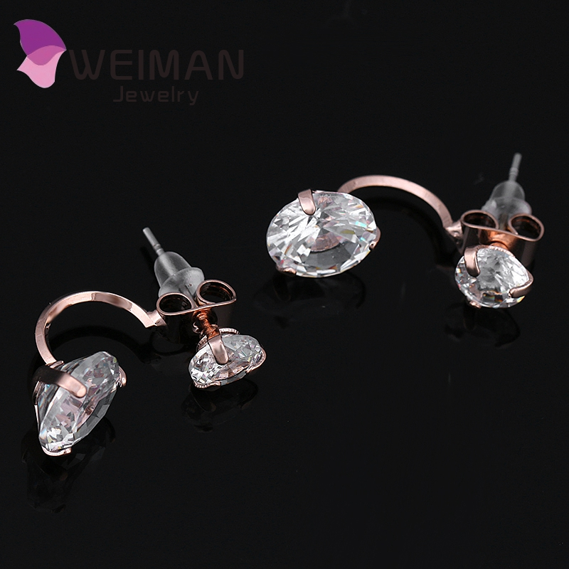 Good Quality Vintage Semicircle Ear Jacket Zircon Studs