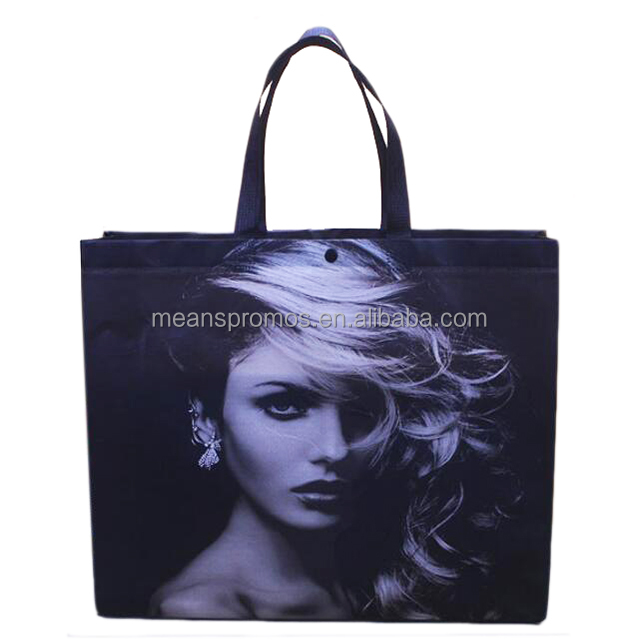 Hot Custom Reusable ultrasonic four color Image Tote Grocery Shopping Fabric PP non woven Laminated bags with snap button