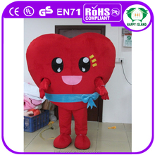CE standard Red heart mascot costume, custom made costumes for adults