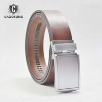 Italian Imported Brown Leather with Silver Automatic Alloy Buckle