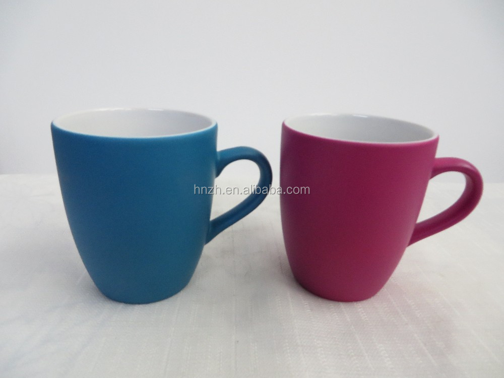 Candy color V shape 11oz cheap cup ceramic coffee personalised mugs