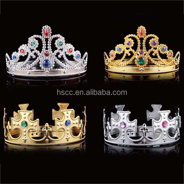 Carnival Rhinestone Gold Plastic King Prince Princess Queen <strong>Crown</strong>