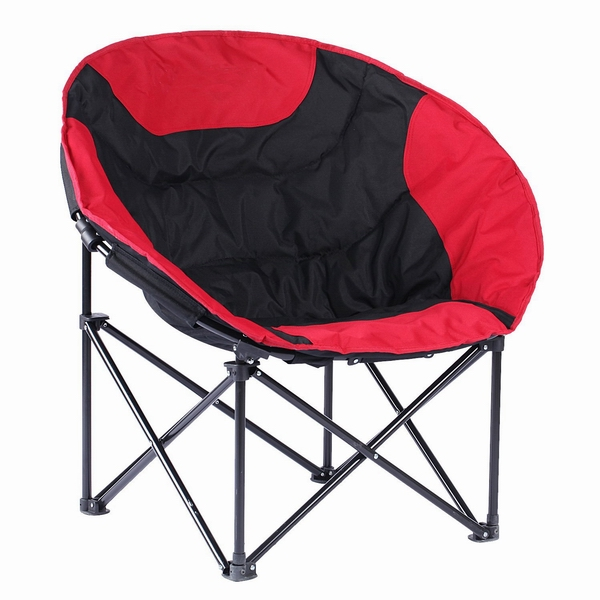 High quality cheap outdoor folding moon chair with magazine bags indoor moon chair