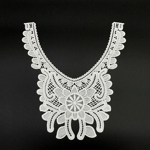New machine made white collar neck indian tulle embroidered 3d lace fabric for wedding