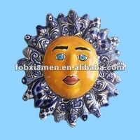 Colored Ceramic Handicrafts Sun Face Wall Decoration