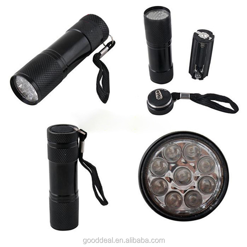 Portable mini Aluminum Black Light Ultra Violet 395nm 9 LED UV Flashlight