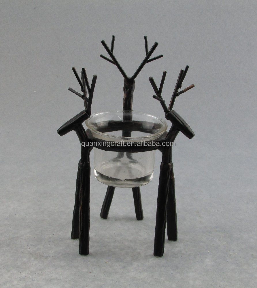 Europe Style Home Bar Coffer house Table Party Decoration black animal candle holder metal deer design candle stand glass