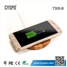 2015 hot bamboo case wireless charger cell phone battery charger T300-B-CG