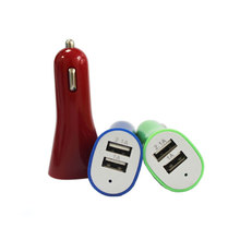 Color Trumpet Shape 5V 1A/2.1A 2 USB Ports Car Charger with LED Light Dot